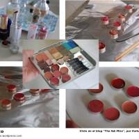 Paleta con restos de maquillajes