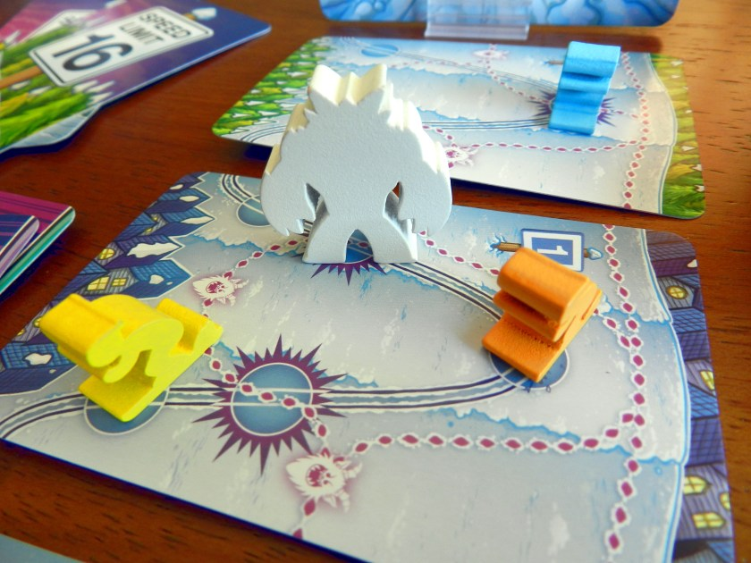 Avalanche at Yeti Mountain's wooden Yeti and skier meeples.
