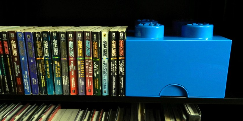 Lego Storage Bricks make great bookends for your collection of Star Trek books.