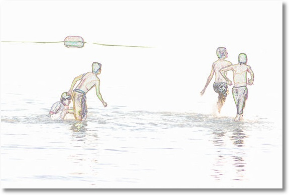 A drawing rendered from a photo of boys at play in Lake Canton, Oklahoma