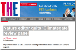 Nature editor quits 'Climategate' review panel
