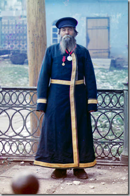 Andrei Petrov Kalganov. Former master in the plant. Seventy-two years old, has worked at the plant for fifty-five years. He was fortunate to present bread and salt to His Imperial Majesty, the Sovereign Emperor Nicholas II.