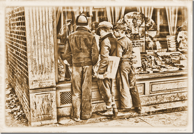 Images of the Great Depression 001 - Newsboys admiring sporting goods, Jackson, Ohio – April 1936