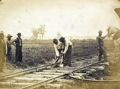 Military railroad operations in northern Virginia: African American laborers working on rail [ca. 1862 or 1863].