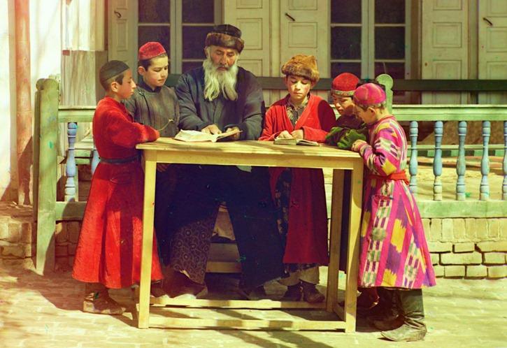 Group of Jewish children with a teacher. Samarkand