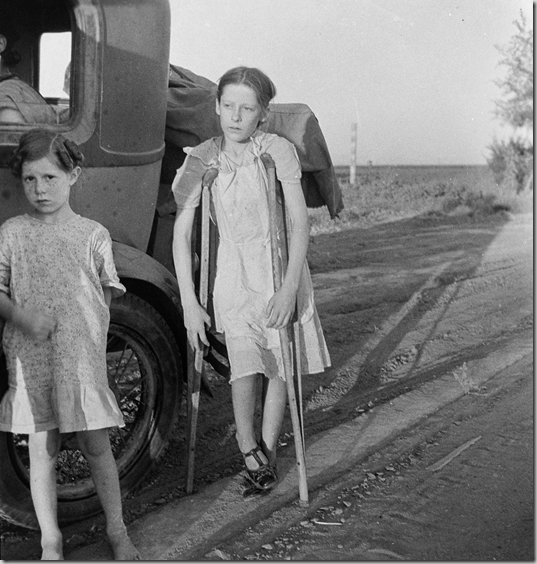 Children of Oklahoma drought refugees on highway near Bakersfield, California.