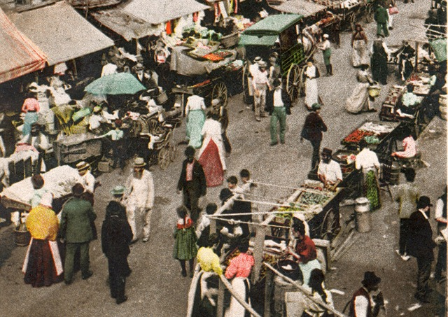 New Jewish market on the East Side, New York c1900 (cropped)