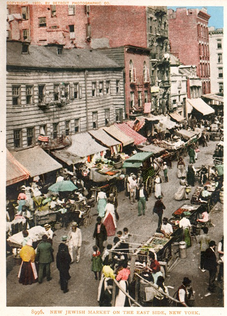 New Jewish market on the East Side, New York c1900