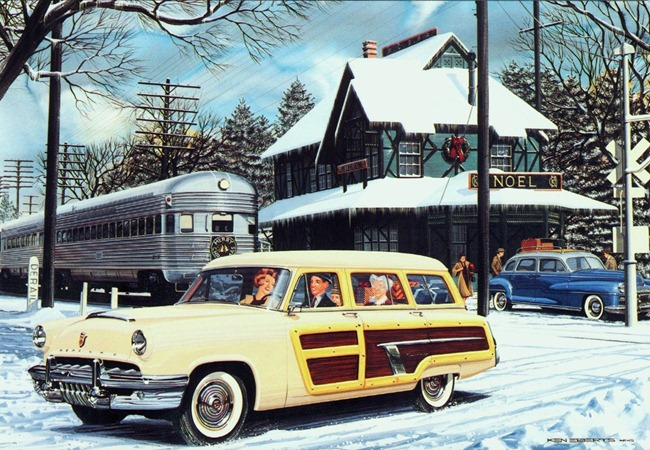 1952 Mercury & 1948 DeSoto Christmas Card