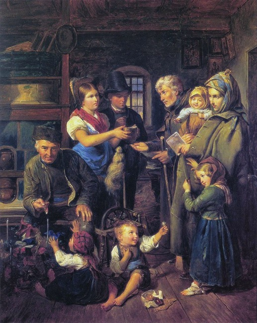 A traveling family of beggars is rewarded by poor peasants on Christmas Eve
