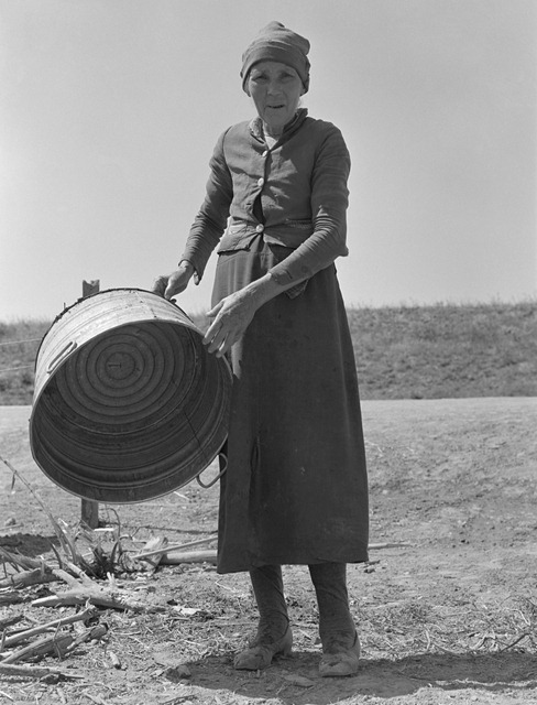 A grandmother in a contractor's camp. Stanislaus County, California