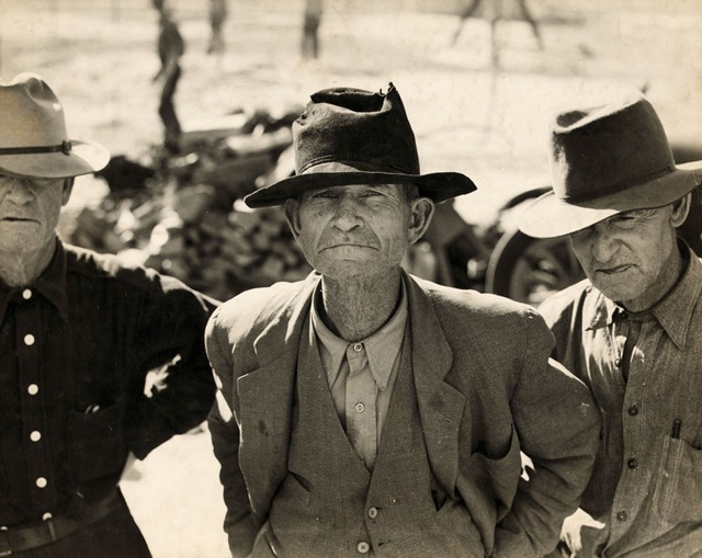 Former tenant farmers on relief grant in the Imperial Valley, California; photo by Dorothea Lange