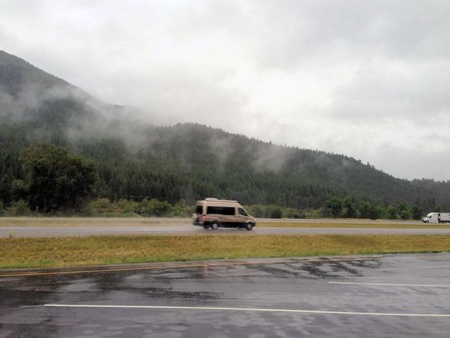 Camper van on the interstate east of Missoula, Montana, August 23, 2014