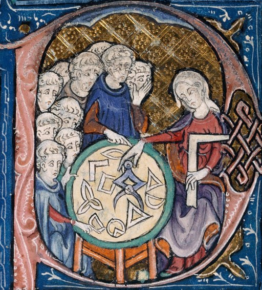 """""""Woman teaching geometry"""" Illustration at the beginning of a medieval translation of Euclid's Elements (c.1310 AD) via Wikipedia CC."""