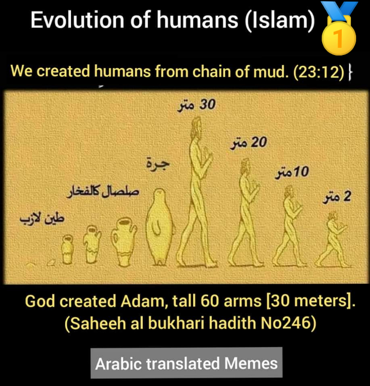 evolution adam 30 meters sahih bukhari scientific errors hadith tall long created from mud quran Islam humans homo-sapiens