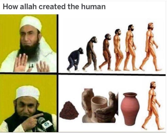 human evolution monkeys primates atheists clay dirt quran Islam scientific error