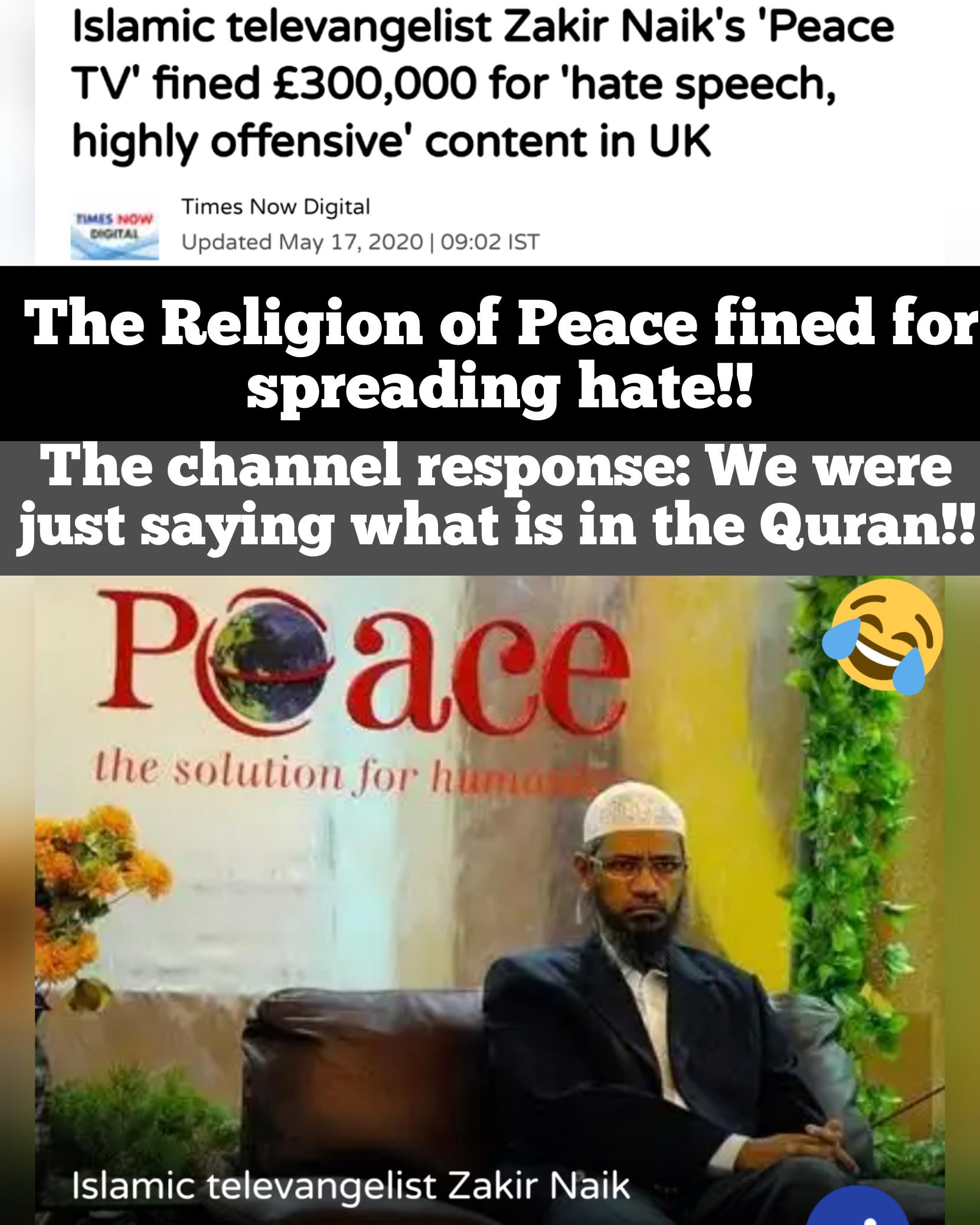 Peace TV penalized Zakri Naki