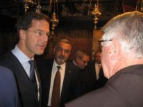 Mark Rutte talking with Dutch friar Gerard van Buul