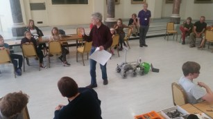 Dr Laurence Tyler demonstrating Blodwen during a robotics workshop