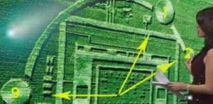 Screenshot of KSBW TV coverage of Salinas crop circle interpretation. Comet ISON depicted in upper left background.