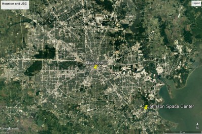 Houston and NASA's Johnson Space Center (Google Earth)