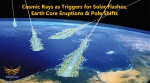 Cosmic Rays as Triggers for Solar Flashes, Earth Core Eruptions & Pole Shifts