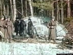 Stillshot from video of UFO crash Russia leaked by former KGB officials. Source: The Secret KGB UFO Files