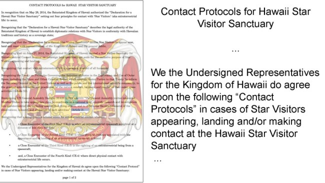 Kingdom of Hawaii approves extraterrestrial contact protocols