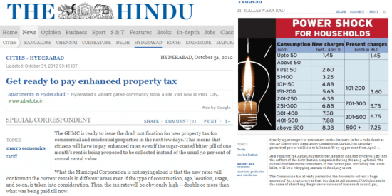 News items on The Hindu about property tax and electricity charges increasing in AP