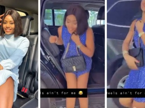 Regina Daniels Struggling with heels