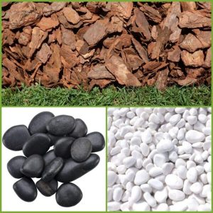Mulch and Pebbles