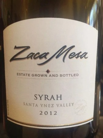 Zaca Mesa Estate Syrah 2012 wines from santa barbara