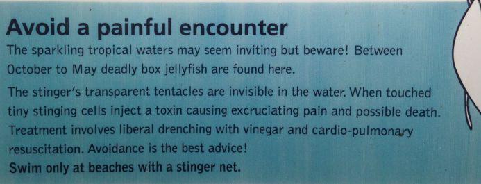 Jellyfish warning sign, Daintree National Park