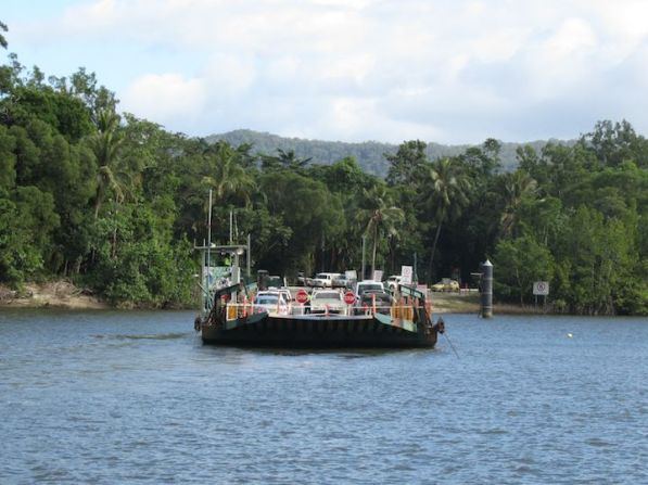 Daintree River crossing required to access Daintree National Park.