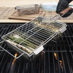 Stainless Steel 3-Compartment Grill Basket