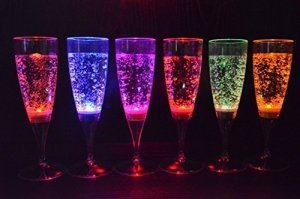 Signstek 6 Set LED Light Wine Flute Light Up Liquid Activated Champagne Glasses
