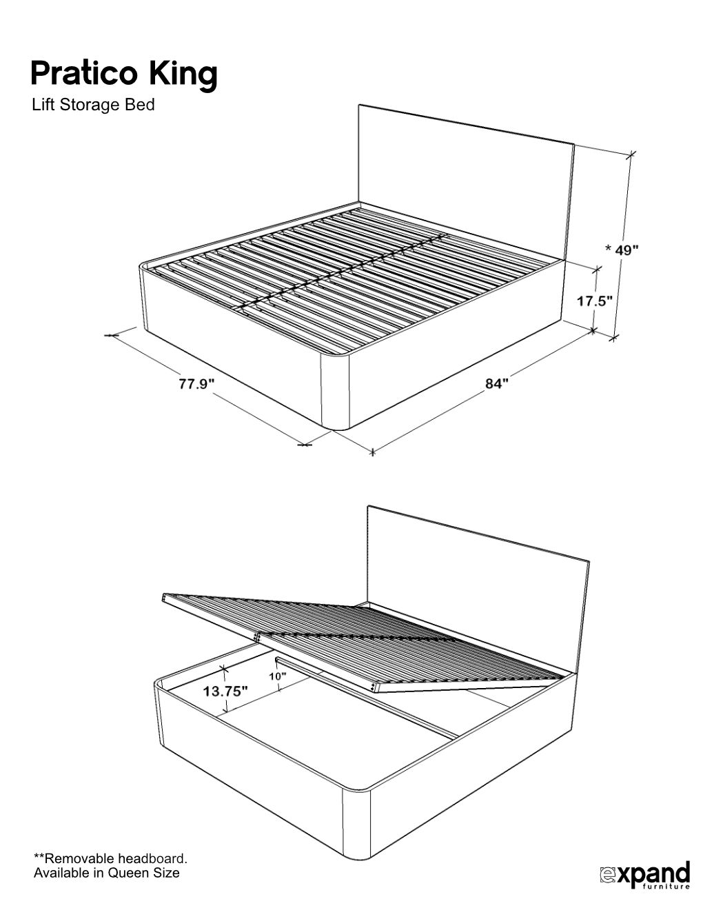 pratico king storage bed with gas lift