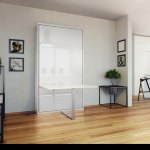 The Hover Single Vertical Wall Bed With Table Desk Expand Furniture Folding Tables Smarter Wall Beds Space Savers
