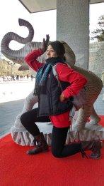 Kelly Hurlburt at a giftshop near The Great Wall of China. Photo by Leisa DeCarlo.