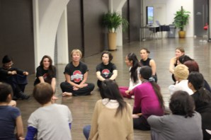 Discussing dance with students at Ullens Contemporary Center for the Arts. Photo by Bob Eckhart.