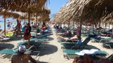 A palapa and two chaise lounges costs seven euros for the day.