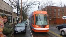 The Portland Streetcar arrives to take us downtown