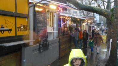 Hoodies in the rain, huddled outside Portland's food carts. It's worth the wait.