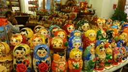 Nesting dolls are on display (and for sale) everywhere