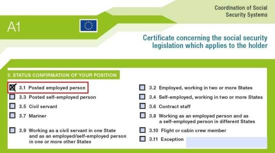 A1 social coverage certificate