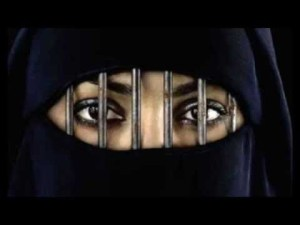 Woman in a burqa with bars