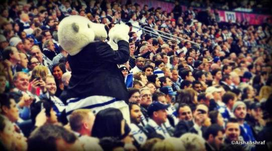 Carlton in the crowd at the Leafs vs Sabres game at the ACC, Toronto