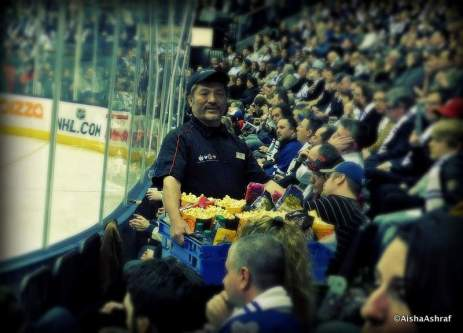 Snack vendor at the Leafs vs. Sabres game, Air Canada Centre, Toronto