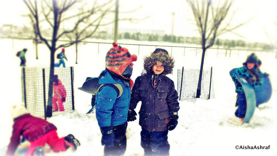 Kids enjoying the snow