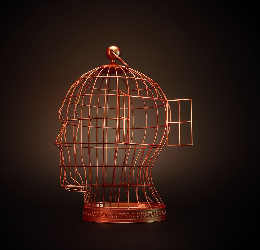 A vintage old bird cage shaped like a human head